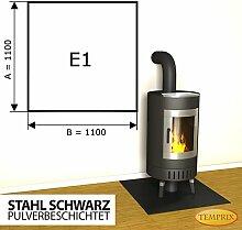 Kaminbodenplatte Funkenschutz Stahl schwarz Ofen Kaminofen Kamin E1 - 1.100 x 1.100 x 2 mm (Stahl schwarz)