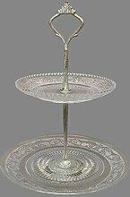 Kamingarnitur Tisch zu Bonbon Kleine Kuchen mit Ablagen, Eisen Glas 27cm