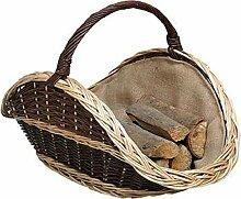 Kaminholzkorb, Holzliege, Korb aus Bicolor Weide