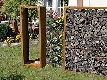 Kaminholzregal Metall aus Cortenstahl Edelros