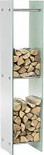 Kaminholzständer Dacio Weißglas-35x35x160 cm