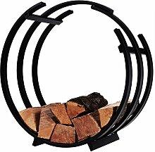 Kaminholzständer ROUND Metall schwarz - Feuerholz