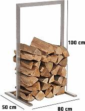 Kaminholzständer Sidone-80x100 cm-silber