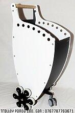 Kaminholzwagen und portapellet mit neuen Kit 6Räder Scale antracite bianco