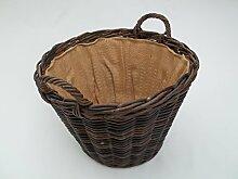 Kaminkorb, Holzkorb, Erntekorb aus Boondot (Rattan), dunkelbraun, mit Futter, Größe 2