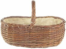 Kaminkorb, oval, ung. Weide,m. Jutegarn,60x40 cm