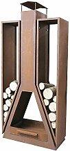 Kaminofen Twin, Stahlblech mit Edelrost 35x81x180cm