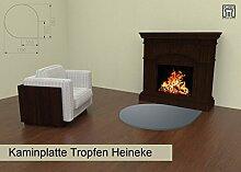 Kaminplatte Hitzeschutzplatte Bodenschutzplatte extrem beständig in Form Tropfen Modell Heineke in Eisengrau. 3mm Stahlblech, hochwertig pulverbeschichtet. Schützt vor Funkenflug und Schmutz.