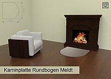 Kaminplatte Hitzeschutzplatte Bodenschutzplatte extrem beständig in Form Rundbogen Modell Meldt in Beigegrau. 3mm Stahlblech, hochwertig pulverbeschichtet. Schützt vor Funkenflug und Schmutz.