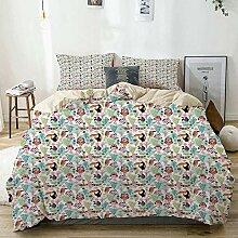 Kanaite Bettbezug Set Beige, exotische Vögel