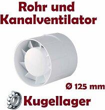 Kanal Rohrventilator Rohreinschub Abluft Lüfter Rohr Ventilator Leise WKA Ø 125 mm Kugellager Rohrlüfter