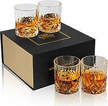 KANARS 4er Set Whisky Gläser, Bleifrei