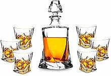 Kanars Whiskey-Dekanter-Set, handgefertigt, mit 6