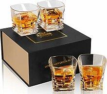 KANARS Whisky Gläser, 4-teiliges Whiskey Glas,