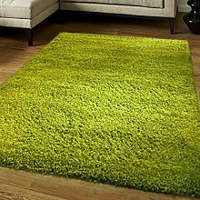 KangROOS Luxus Shaggy Teppich Läufer Fusselfreier Teppich Fusselfreier Dick und weich in mit Rutschfeste Greifer-Unterlage, Lindgrün, 120cmx170cm