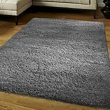 KangROOS Luxus Shaggy Teppich Läufer Fusselfreier Teppich Fusselfreier Dick und weich in mit Rutschfeste Greifer-Unterlage, silbergrau, 120cmx170cm