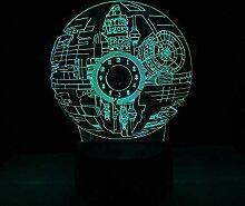 KangYD Todesstern Uhr 3D Nachtlicht, LED Bunte