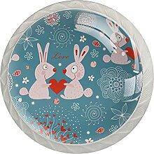 Kaninchen Blaue Liebe Küchenknopf Klarglasschrank