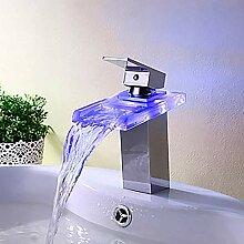 KANJJ-YU LED-Wasserhahn für Waschbecken, modern,