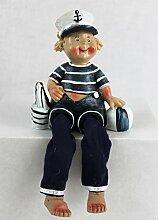 Kantenhocker Junge Matrose mit Ball und Boot ca. 16cm Sitzhöhe 10cm