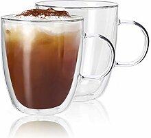 Kanwone Kaffeebecher aus Glas, doppelwandig,