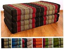Kapok Klappmatratze der Marke Asia Wohnstudio, Faltmatratze, Entspannungsmatte für Indoor und Outdoor, optimal als Gästematratze oder Gästebett geeignet, (schwarz / rot)