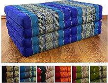 Kapok Klappmatratze der Marke Asia Wohnstudio, Faltmatratze, Entspannungsmatte für Indoor und Outdoor, optimal als Gästematratze oder Gästebett geeignet, (blau)