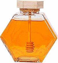 Kapokilly Sechseckiges Glas Honigglas Mit