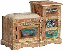 KARAKTER-MÖBEL Details zu Sitzbank Hocker Kasten Recyclingholz Massivholz Vintage Shabby Loft Bunt MF-205