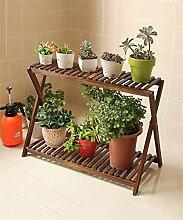 Karbonisiert Einfache Holz Blumentopf Regal Pflanze Stand Wohnzimmer Balkon Blumenregal (größe : 55*83CM)