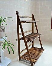 Karbonisiertes Holz Leiter Vier Fold Garten Terrasse Blumenregal ( Farbe : #2 )