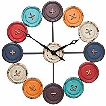 Kare 35304 Wanduhr Buttons Accessoires, Edelstahl, schwarz, weiß, grau, Orange, rot, Hellblau, Dunkelblau, 3 x 80,5 x 80,5 cm