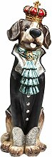 Kare 38521 Deko Figur King Dog Accessoires, Polyresin lackiert, schwarz, weiß, Blau, rot, Gold, grau, 28 x 33,5 x 79 cm