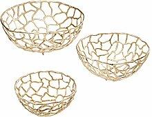 Kare 39021 Schale NETWORK Gold (3/Set) Accessoires, Metall, 51 x 51 x 20 cm