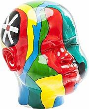 Kare 39179 Deko Kopf Face Colore Accessoires, Polyresin, handbemalt, rot, Gelb, Grün, Blau, schwarz, weiß, Türkis, 45 x 56 x 59 cm