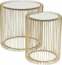 Kare Design Beistelltisch Wire Gold 2er Set,