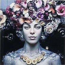 Kare Design Bild Glas Flower Art Lady 80x80cm,