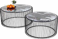 Kare Design Couchtisch Wire Glas Marble Schwarz,
