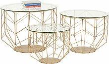 Kare Design Couchtisch Wire Grid Brass 3er Set,