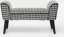 Kare Design Polsterbank mit Stoffbezug schwarz weiss gemustert Pepita