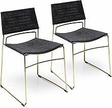 Kare Design Stuhl Hugo Schwarz Gold (2/Set)