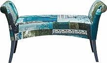 Kare Polsterbank Motley Blue Hour, gepolsterte, schmale 2er Sitzbank, kleine Deko Design Stoffschuhbank aus Buchenholz, Patchwork, bunt blau-weiß (H/B/T) 61x110x40cm