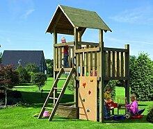Karibu 68757 Spielturm Pfiffikus mit Satteldach im Set mit Anbau Spielturm,Kletterwand, Sandkasten, Handgriffen und 6 Schaukelanker Spielturm Pfiffikus mit Satteldach im Set kesseldruckimprägnier