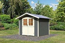 Karibu Gartenhaus USEDOM terragrau Gerätehaus 245x245cm 28mm