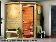 Karibu Sauna Mia ohne Dachkranz (Eckeinstieg) mit Tür Modern