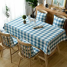 Karierte blaue Tischdecke