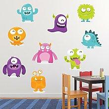 Karikatur-Monster-Set Wandaufkleber Set Monster Wandtattoo Kinderzimmer Dekor Erhältlich in 8 Größen Groß Digital