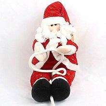 Karikatur Seil Klettern Weihnachtsmann, der