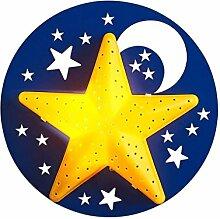 Karikatur Wandlampe WandLeuchte Sterne Mond Holz
