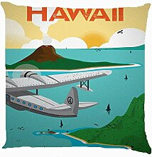 KarilShop airplane air view hawaii blue Linen Throw Pillow Case Cushion Cover Home Sofa Decorative 18 X 18 Inch.